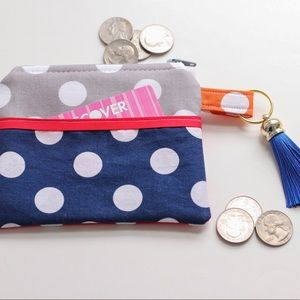Accessories - Polka dot zippered coin purse with tassel